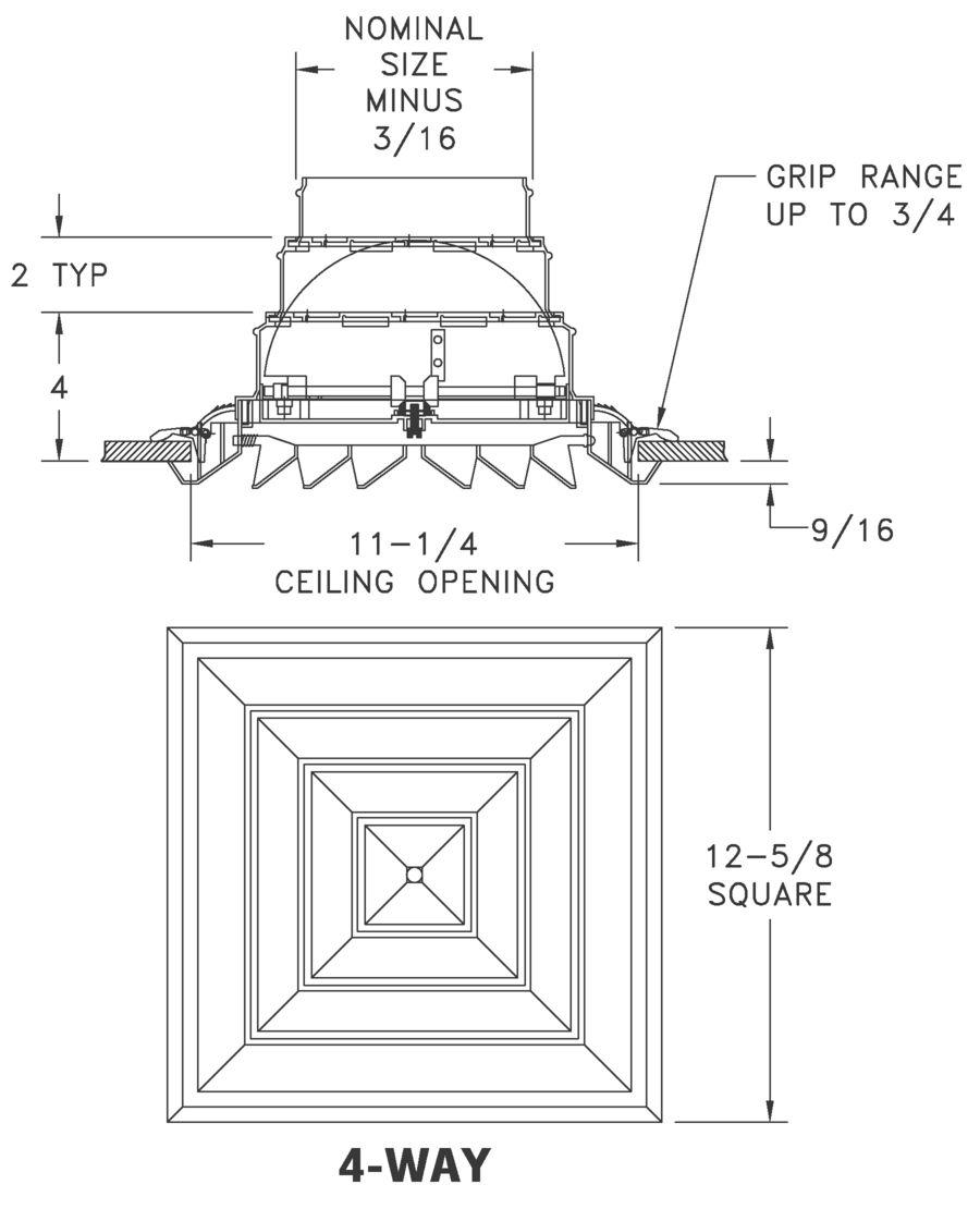 Rezzin Square Ceiling Diffuser Airmate